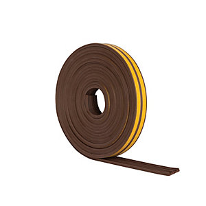 Wickes E Profile Rubber Draught Seal Brown - 10m