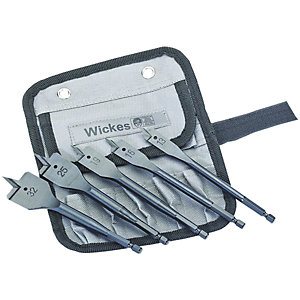 Wickes 5 Piece Flat Wood Bit Set
