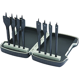 Wickes 8 Piece Flat Wood Bit Set in Plastic Case