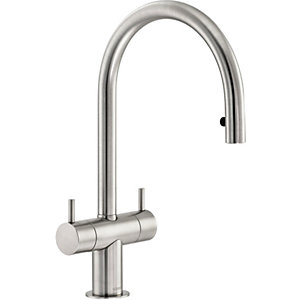 Abode Hesta Dual Lever Pull Out Sink Tap - Brushed Nickel