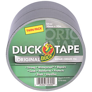 Duck Tape Original Silver 50mm x 25m Twin Pack