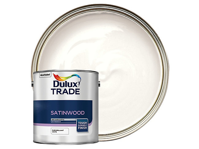 Dulux Trade Satinwood Paint Brilliant White 2.5L