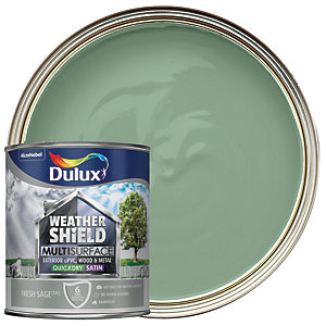 Dulux Weathershield Exterior Multi Surface Quick Dry Satin Paint - Fresh Sage 750ml