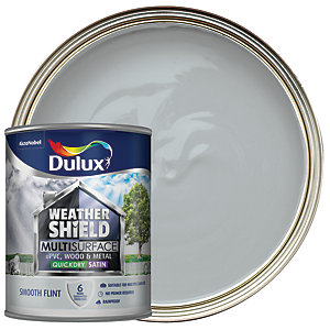 Dulux Weathershield Exterior Multi Surface Quick Dry Satin Paint - Smooth Flint 750ml