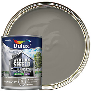 Dulux Weathershield Exterior Multi Surface Quick Dry Satin Paint - Warm Graphite 750ml