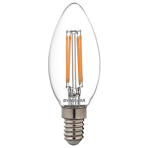 Sylvania LED Candle Retro Filament Lamp, Dimmable 470Lm, 40W Equivalent, Warm White, E14 Cap Fitting