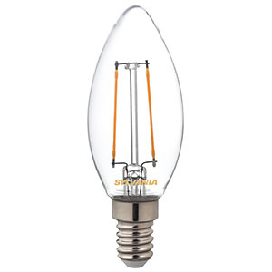 Sylvania LED Non Dimmable Clear Filament Candle Bulb - 2.5W E14 250lm