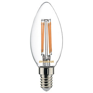 Sylvania LED Non Dimmable Clear Filament Candle Bulb -  4.4W E14 470lm