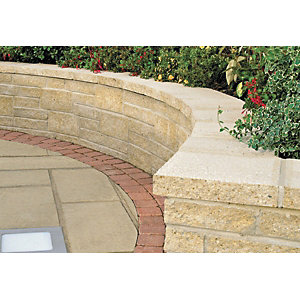 Marshalls Saxon Textured Coping Stone - Buff 600 x 272 x 50mm