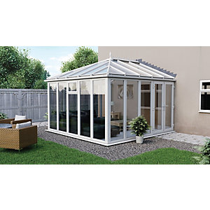 Euramax Edwardian Glass Roof Full Glass Modern Conservatory - 10 x 10 ft