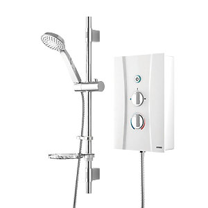 Wickes Hydro Thermostatic Electric Shower & Adjustable Riser Kit - White 9.5kW Best Price, Cheapest Prices