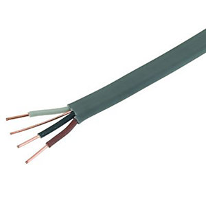 Wickes 3 Core & Earth Cable - Grey 1.5mm2 x 7.5m