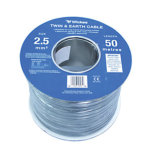 Wickes Twin & Earth Cable - 2.5mm2 x 50m
