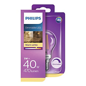 Philips Vintage Filament LED White Clear Dimmable GLS Bulb - 5W E14