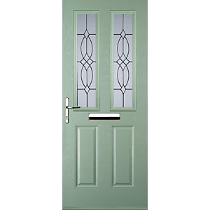 Euramax 2 Panel 2 Square Chartwell Green Right Hand Composite Door