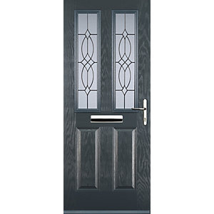 Euramax 2 Panel 2 Square Grey Left Hand Composite Door