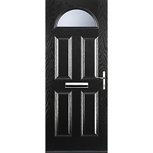 Euramax 4 Panel 1 Arch Black Left Hand Composite Door