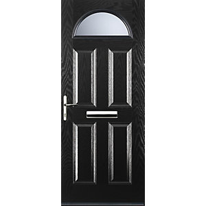 Euramax 4 Panel 1 Arch Black Right Hand Composite Door