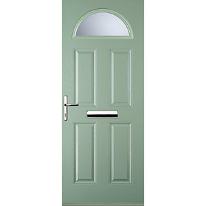 Euramax 4 Panel 1 Arch Chartwell Green Right Hand Composite Door