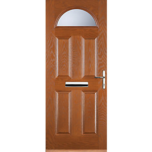 Euramax 4 Panel 1 Arch Oak Left Hand Composite Door