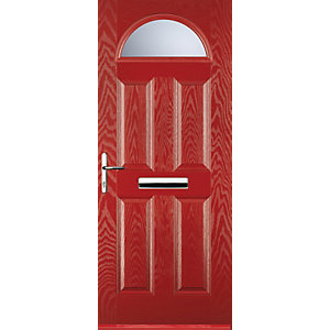 Euramax 4 Panel 1 Arch Red Right Hand Composite Door