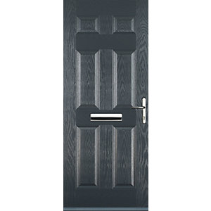 Euramax 6 Panel Grey Left Hand Composite Door