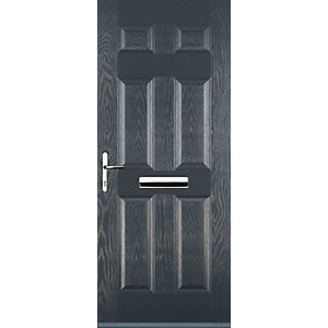Euramax 6 Panel Grey Right Hand Composite Door