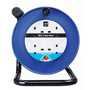 Masterplug 4 Socket Thermal Cut-out Open Cable Reel - Blue 30m 10A