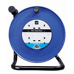 Masterplug 4 Socket Thermal Cut-out Open Cable Reel - Blue 50m 13A