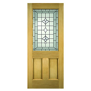 Wickes Avon External Oak Veneer Door Glazed 2 Panel 1981 x 762mm  sc 1 st  Wickes & Hardwood Doors - External Oak Veneer Doors | Wickes