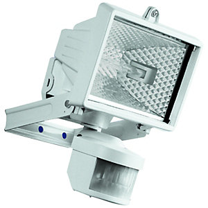 Security lighting lighting decorating interiors wickes wickes compact white halogen floodlight with pir 120w r7s aloadofball Images