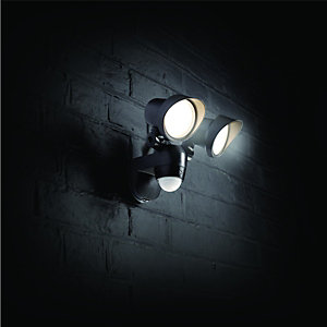 Wickes Twinspot Black PIR Floodlight - 42W & Security Lighting - Lighting -Decorating u0026 Interiors | Wickes
