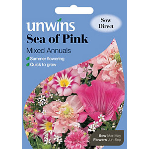 Unwins Sea of Pink Mixed Annuals Flower Seeds