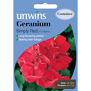 Unwins Simply Red F1 Hybrid Geranium Seeds