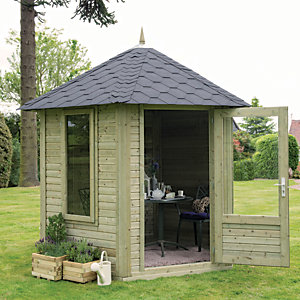 Forest Garden 11 x 10 ft Henley Black Shingle Roofed Hexagonal Summerhouse