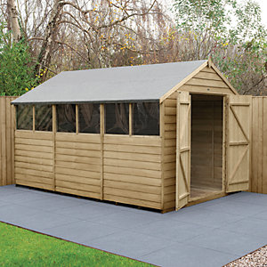 Forest Garden 12 x 8 ft Large Apex Overlap Pressure Treated Double Door Shed