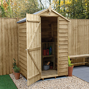 Forest Garden 4 x 3 ft Apex Overlap Pressure Treated Windowless Shed