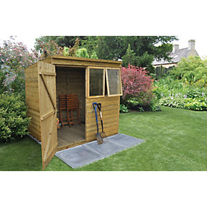 Forest Garden 7 x 5 ft Pent Tongue & Groove Pressure Treated Shed with Opening Windows