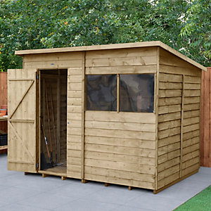 Forest Garden 8 x 6 ft Pent Overlap Pressure Treated Shed Best Price, Cheapest Prices