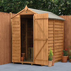 Forest Garden Apex Overlap Dip Treated Windowless Shed   4 X 6 Ft