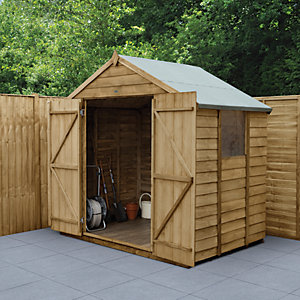 Forest Garden Apex Overlap Pressure Treated Double Door Shed - 7 x 5 ft