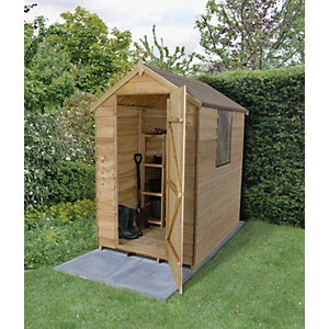 Forest Garden Apex Overlap Pressure Treated Shed - 4 x 6 ft