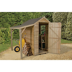 Forest Garden Apex Overlap Pressure Treated Shed with Side Shelter - 6 x 4 ft