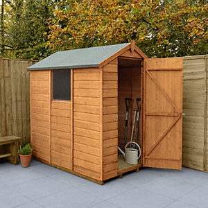Forest Garden Apex Shiplap Dip Treated Shed - 4 x 6 ft