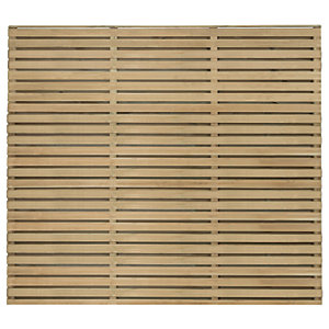 Forest Garden Double Slatted Fence Panel 6 x 5 ft Multi Packs