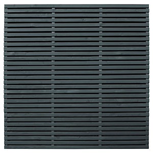 Forest Garden Double Slatted Grey Fence Panel 6 x 6 ft Multi Packs
