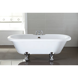 Wickes Decadent Double Ended Roll Top Bath with Chrome Effect Feet - 1720mm x 770mm