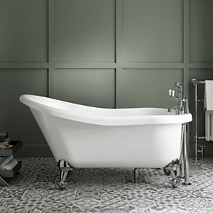 Wickes Slipper Single Ended Roll Top Bath - 1500mm