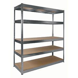 Rb Boss Galvanised Shelf Kit 5 Wood Shelves - 1800 x 1600 x 600mm 250kg Udl
