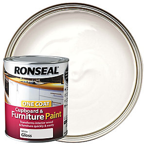 Ronseal One Coat Cupboard & Furniture Paint - White Gloss 750ml
